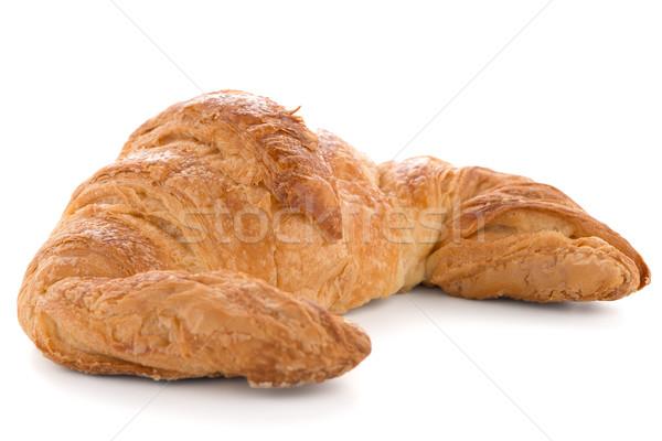 Foto stock: Fresco · croissant · branco · ouro · café · da · manhã · isolado