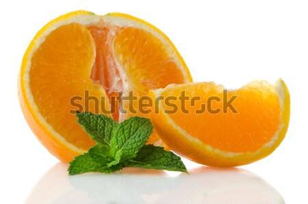 オレンジ果実 セグメント ミント 葉 白 フルーツ ストックフォト © homydesign