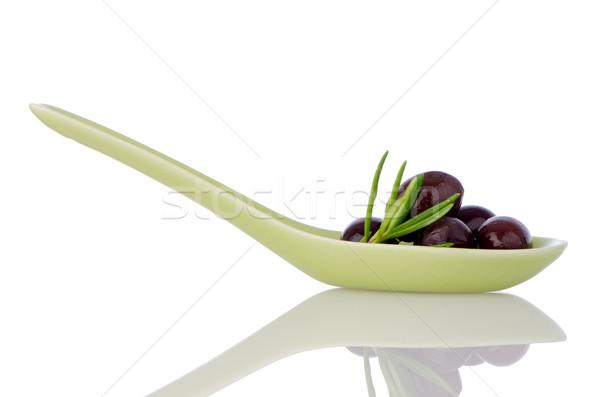 Stock fotó: Olajbogyók · kerámia · kanál · bazsalikom · olívaolaj · étel