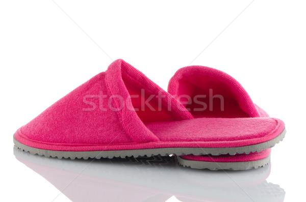 ペア ピンク スリッパ 白 ホーム 背景 ストックフォト © homydesign