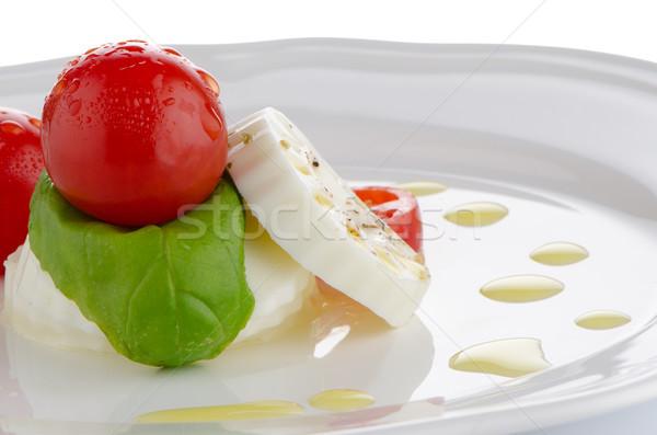 Сток-фото: свежие · Салат · Сыр · из · козьего · молока · томатный · базилик