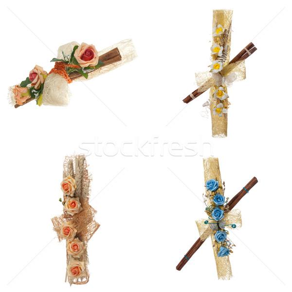 Ingesteld vier bloem arrangement geïsoleerd witte Stockfoto © homydesign