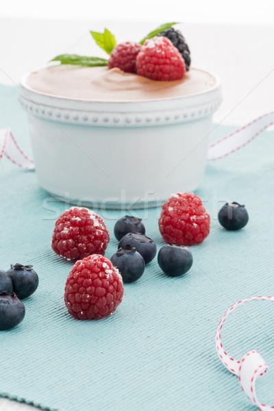 Mus czekoladowy czerwony owoce owoców deser słodkie Zdjęcia stock © homydesign