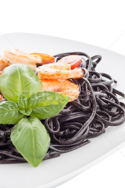Nero spaghetti isolato bianco foglia ristorante Foto d'archivio © homydesign