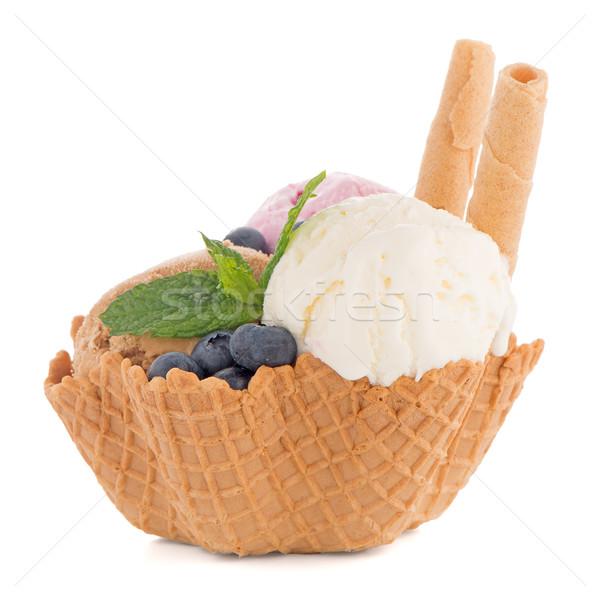 Crème glacée plaquette bol blanche chocolat fond Photo stock © homydesign