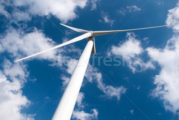 風 ミル 電源 ジェネレータ 青 曇った ストックフォト © homydesign