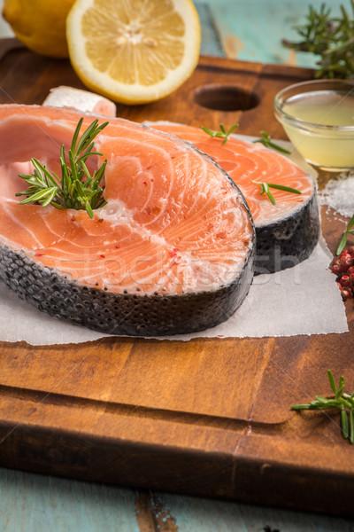 ストックフォト: 生 · 鮭 · ステーキ · 新鮮な · 魚 · 海塩