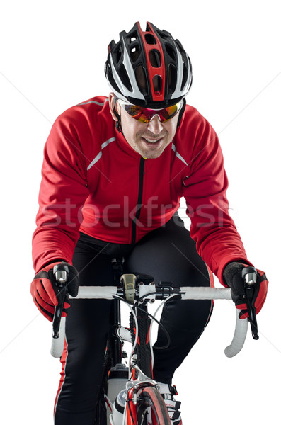 Cyclist riding a bike Stock photo © homydesign