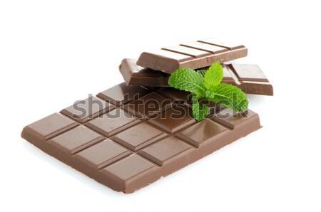 Csokoládé szelet izolált fehér levél háttér fekete Stock fotó © homydesign