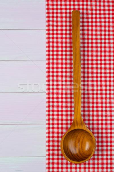 Kitchenware on red towel Stock photo © homydesign