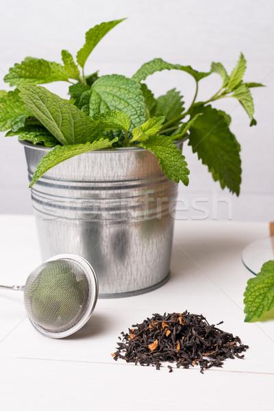 Chá medicinal branco mesa de madeira topo madeira natureza Foto stock © homydesign
