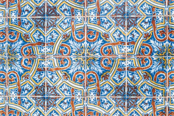Tradicional azulejos pormenor arte piso papel de parede Foto stock © homydesign