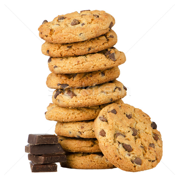 Chocolate chip cookies with chocolate parts Stock photo © homydesign