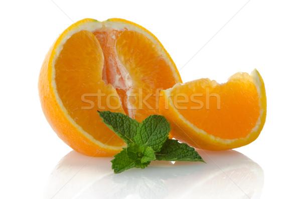 Oranje vruchten mint blad witte vruchten Stockfoto © homydesign