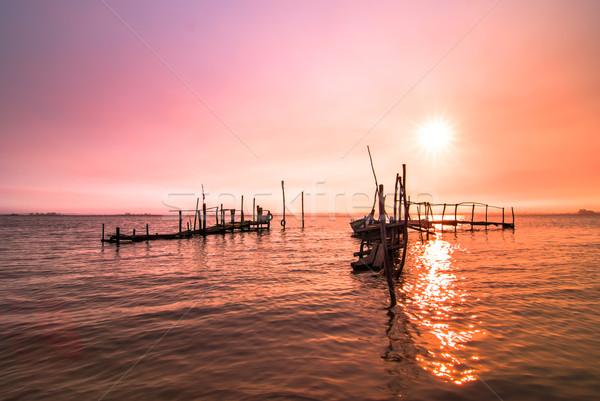 Velho doca nascer do sol pescaria água Foto stock © homydesign