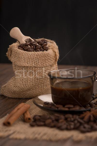 コーヒーカップ 黄麻布 豆 素朴な ストックフォト © homydesign