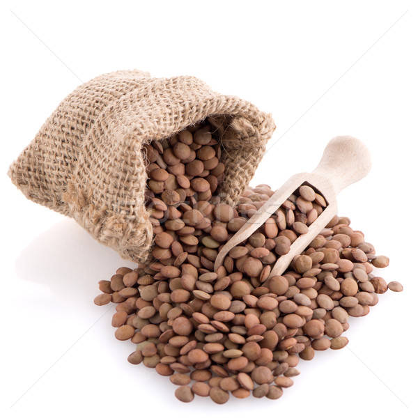 Burlap bag with lentils Stock photo © homydesign