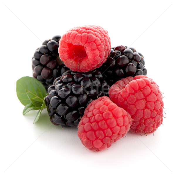 Framboesa amora preta branco natureza fruto sobremesa Foto stock © homydesign