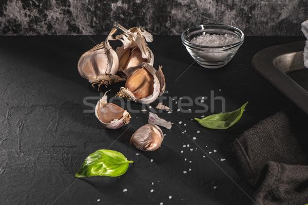 чеснока свежие базилик листьев кухне Средиземное море Сток-фото © homydesign