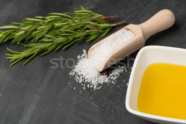 Cozinhar ingredientes cozinha mediterrânea monte alecrim sal Foto stock © homydesign