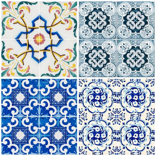Photo stock: Vintage · céramique · tuiles · coloré · mur · décoration