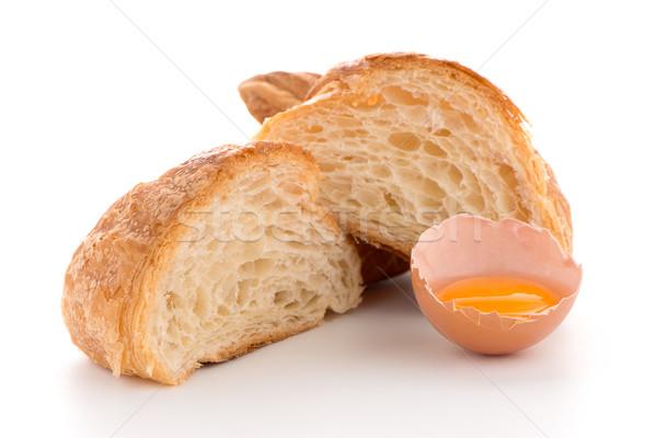 Croissant nyers tojás friss fehér arany Stock fotó © homydesign