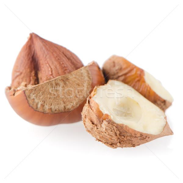 Smakelijk hazelnoten witte voedsel natuur Stockfoto © homydesign