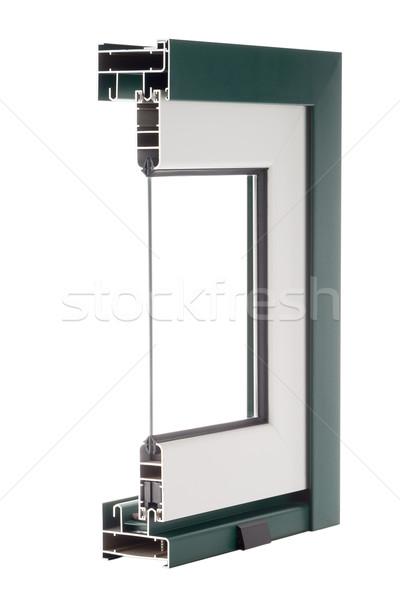 Stockfoto: Aluminium · venster · monster · geïsoleerd · witte · gebouw