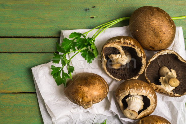 Fresh uncooked brown mushrooms Stock photo © homydesign