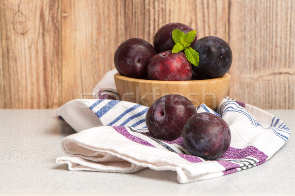 Delicious red plums Stock photo © homydesign