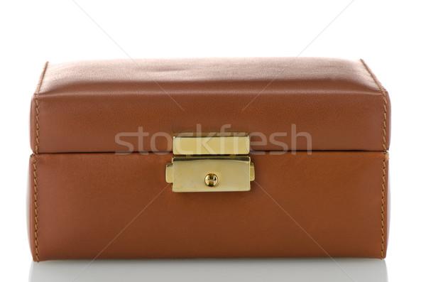 Brown leather jewelery box Stock photo © homydesign