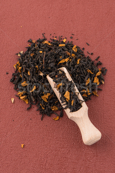 Negro secar té cuchara de madera rojo vinilo Foto stock © homydesign