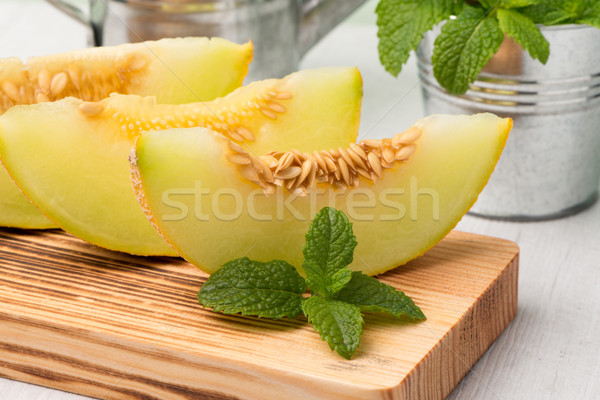 Kavun sulu ahşap masa meyve arka plan yaz Stok fotoğraf © homydesign