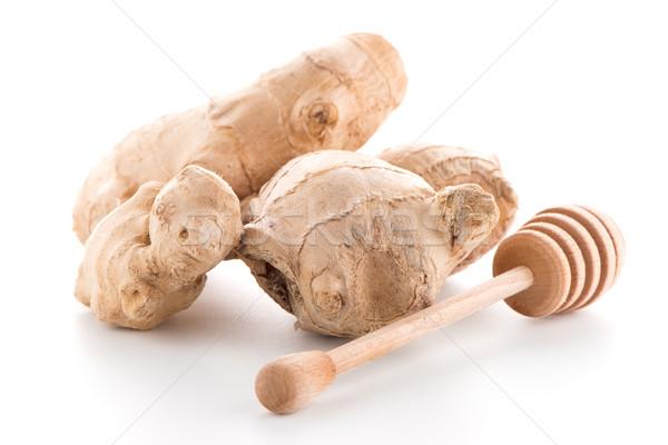 Jengibre raíz aislado blanco alimentos fondo Foto stock © homydesign