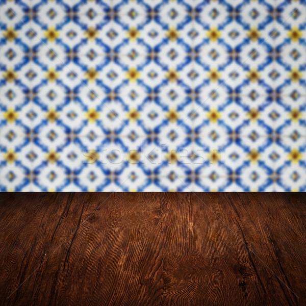 Houten tafel top Blur vintage keramische tegel Stockfoto © homydesign
