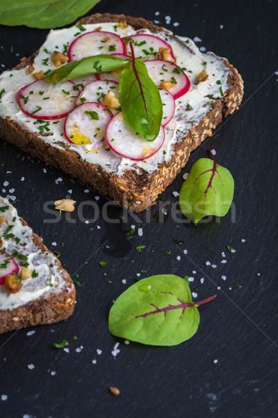 Heerlijk vegetarisch sandwiches zachte room kaas Stockfoto © homydesign