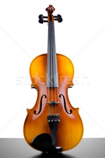 Hegedű felső sötét asztal izolált fehér Stock fotó © homydesign