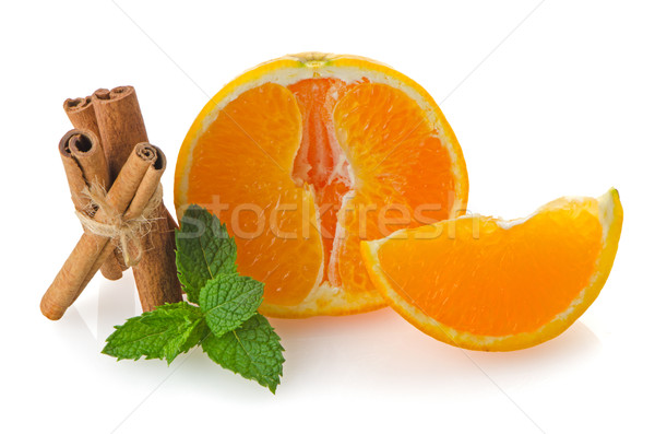 Egy narancs rész izolált fehér gyümölcs Stock fotó © homydesign