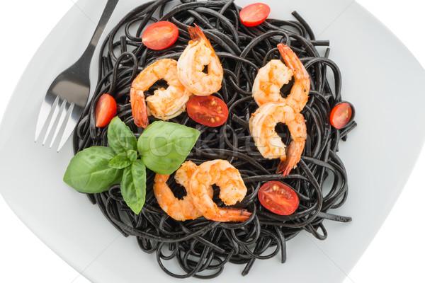 Zwarte spaghetti geïsoleerd witte blad restaurant Stockfoto © homydesign