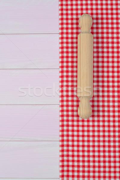 Utensílios de cozinha vermelho toalha branco Foto stock © homydesign