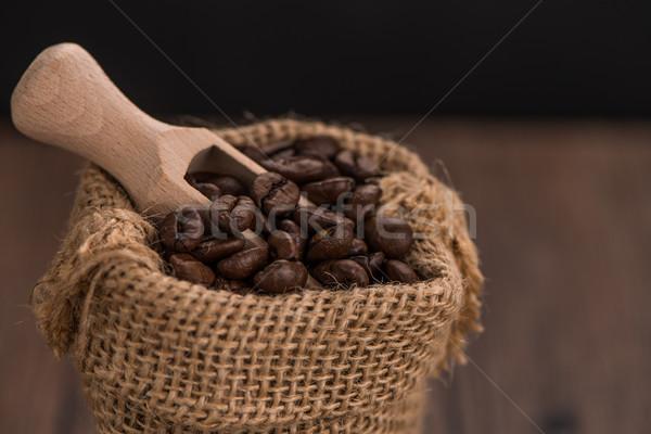 Coffee grains in a bag Stock photo © homydesign