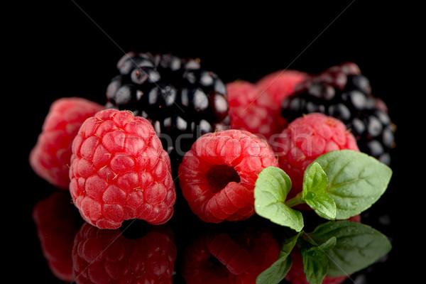 Amora preta framboesa preto isolado fruto saúde Foto stock © homydesign