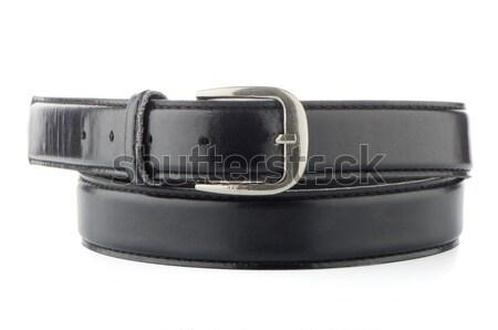 Cuero cinturón elegante negro aislado blanco Foto stock © homydesign