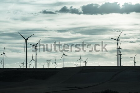 Wind power turbines Stock photo © homydesign