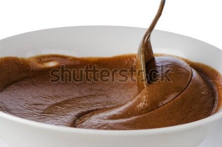 Mus czekoladowy biały kubek łyżka żywności mleka Zdjęcia stock © homydesign
