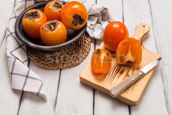 Orange délicieux table en bois alimentaire nature fond Photo stock © homydesign