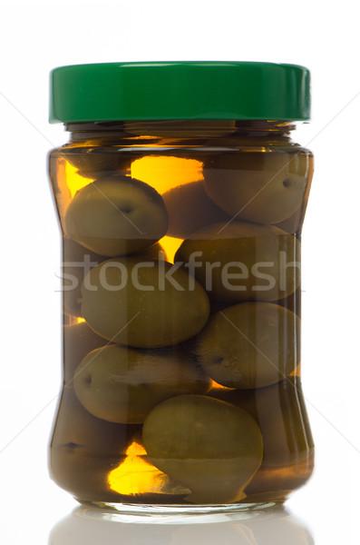 Foto stock: Azeitonas · vidro · jarra · branco · fruto · verde