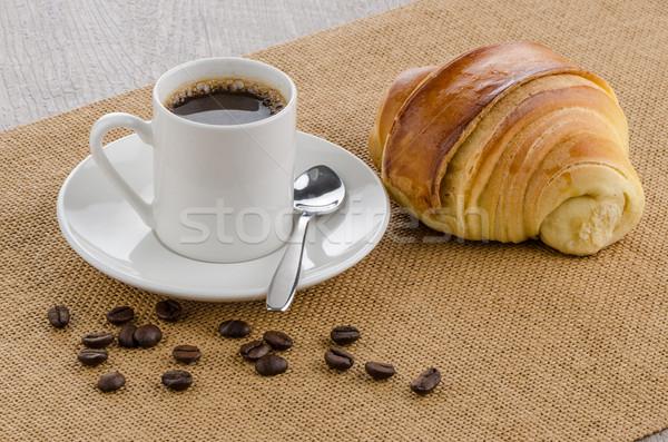 Кубок черный кофе круассан дома текстуры продовольствие Сток-фото © homydesign