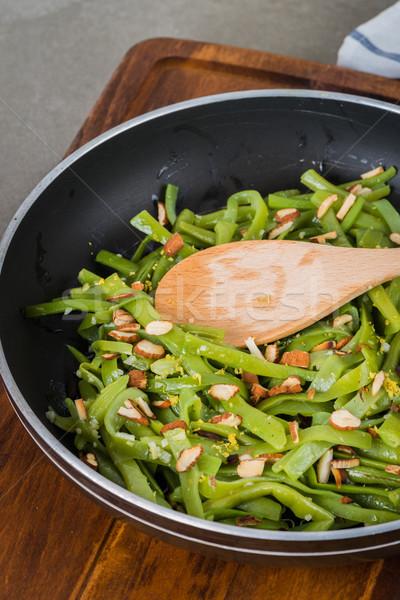 Groene bonen amandelen schaal keuken gezondheid Stockfoto © homydesign