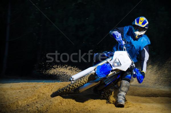 Bicikli tevékenység fordul homok terep égbolt Stock fotó © homydesign